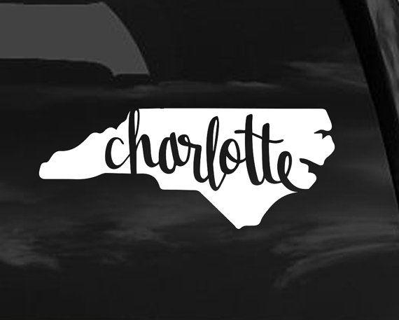 Charlotte north carolina vinyl decal sticker charlotte nc decal for car sticker for computer window sticker phone decal