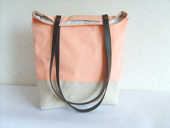 Peach tote, salmon pink bag, leather straps, colorblock tote bag ...