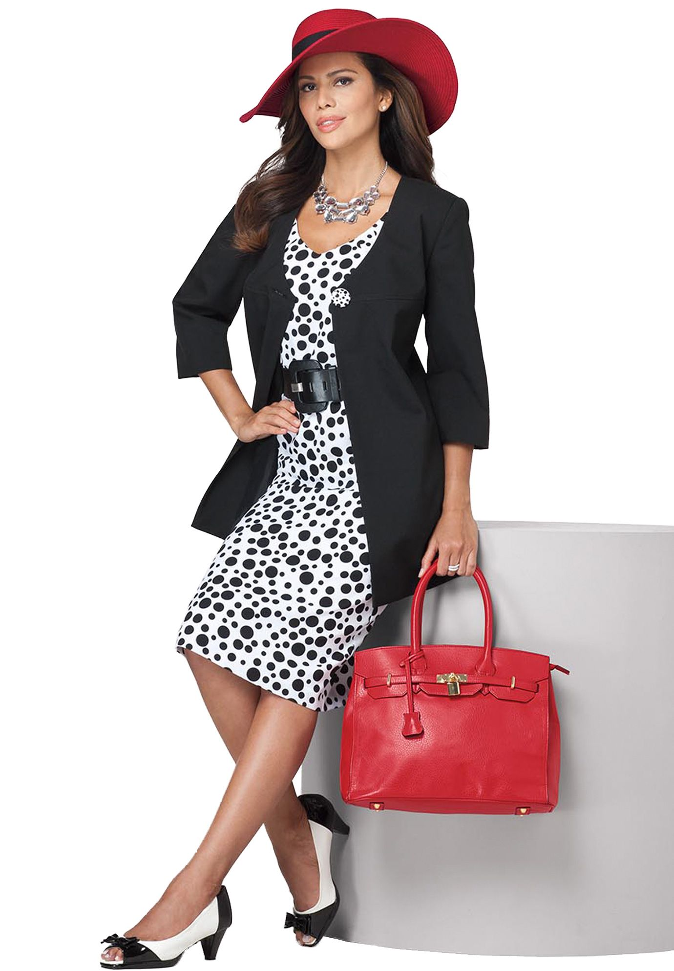 polka dot shift jacket dress | plus size jacket dresses