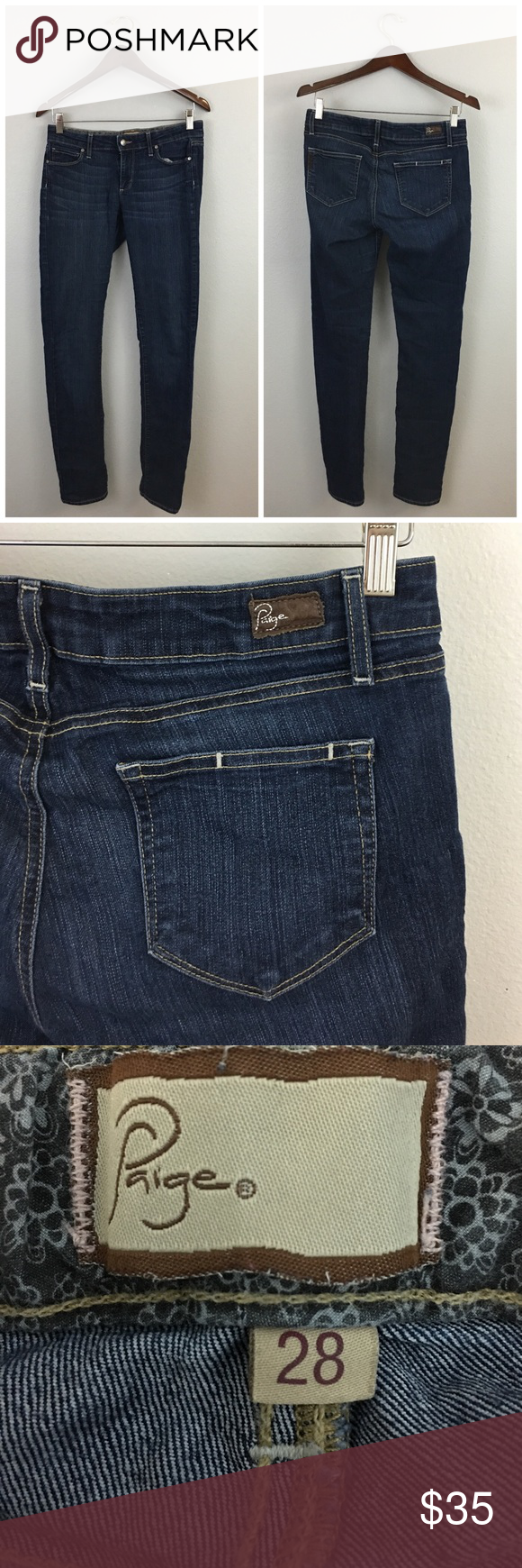 """Paige Peg Skinny Dark Medium Wash Jeans Paige Peg Skinny Dark Medium Wash Jeans. Size 28 with stretch. Thank you for looking at my listing. Please feel free to comment with any questions (no trades/modeling).  •Length: 29"""" Inseam  •Condition: Very good! No visible flaws.   ✨Bundle and save!✨10% off 2 items, 20% off 3 items & 30% off 5+ items! IC Paige Jeans Jeans Skinny"""