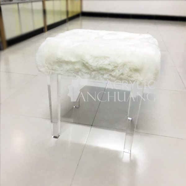 Acrylic Furniture Series 4 Clear Acrylic Stool With Wool Lucite Vanity Stool With Ivory Sheep Fur Skin A Stool Furniture Home Bar Furniture Furniture Deals