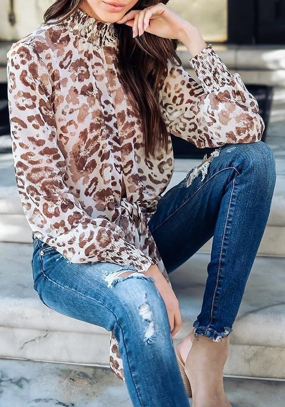 31c884e0 White Leopard Band Collar Long Sleeve Chiffon Blouse | Fashion in ...