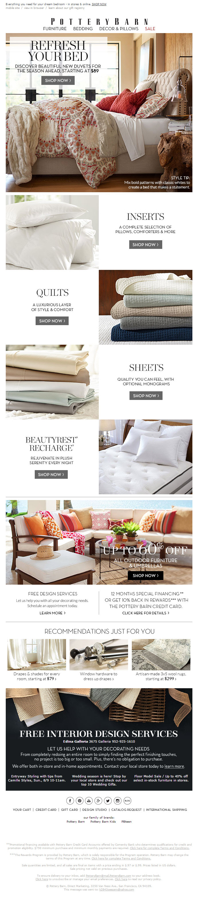 Pottery Barn Sent 7 29 15 Subject Line Beautiful New Must