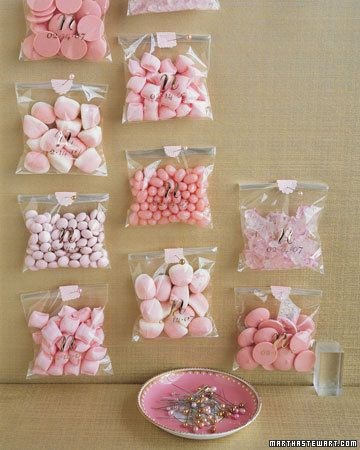 pink choc wafers  pillow mints strawberry puffs jelly beans etc