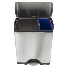 Simplehuman Deluxe Rectangular Recycler Bin 46l Stylish Kitchen Bins Home Eco