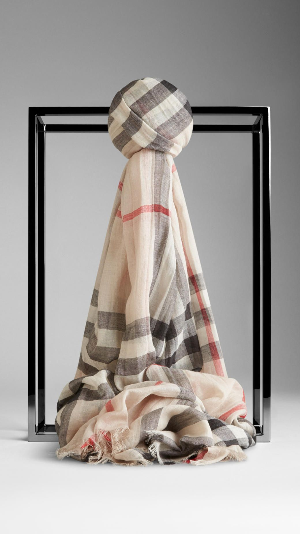 Lightweight Check Wool and Silk Scarf in Stone   Style   Pinterest e8e90ca1968