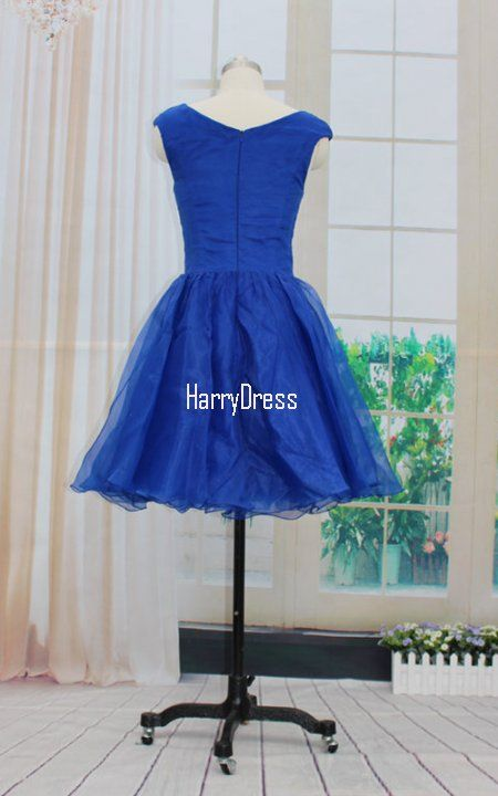 Princess A Line Navy Mini Scoop Neck Tulle Short Homecoming Dress