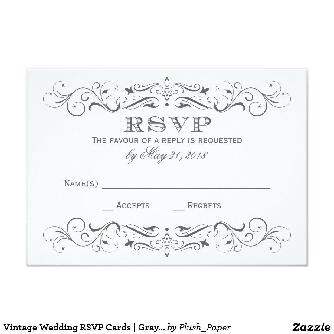 Vintage Wedding RSVP Cards | Gray Elegant Flourish | Wedding rsvp ...