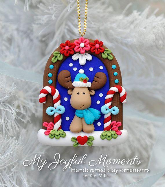 Handcrafted Polymer Clay Winter Moose Scene Ornament Navidad De Arcilla Polimérica Adornos De Arcilla Polimérica Arcilla De Navidad