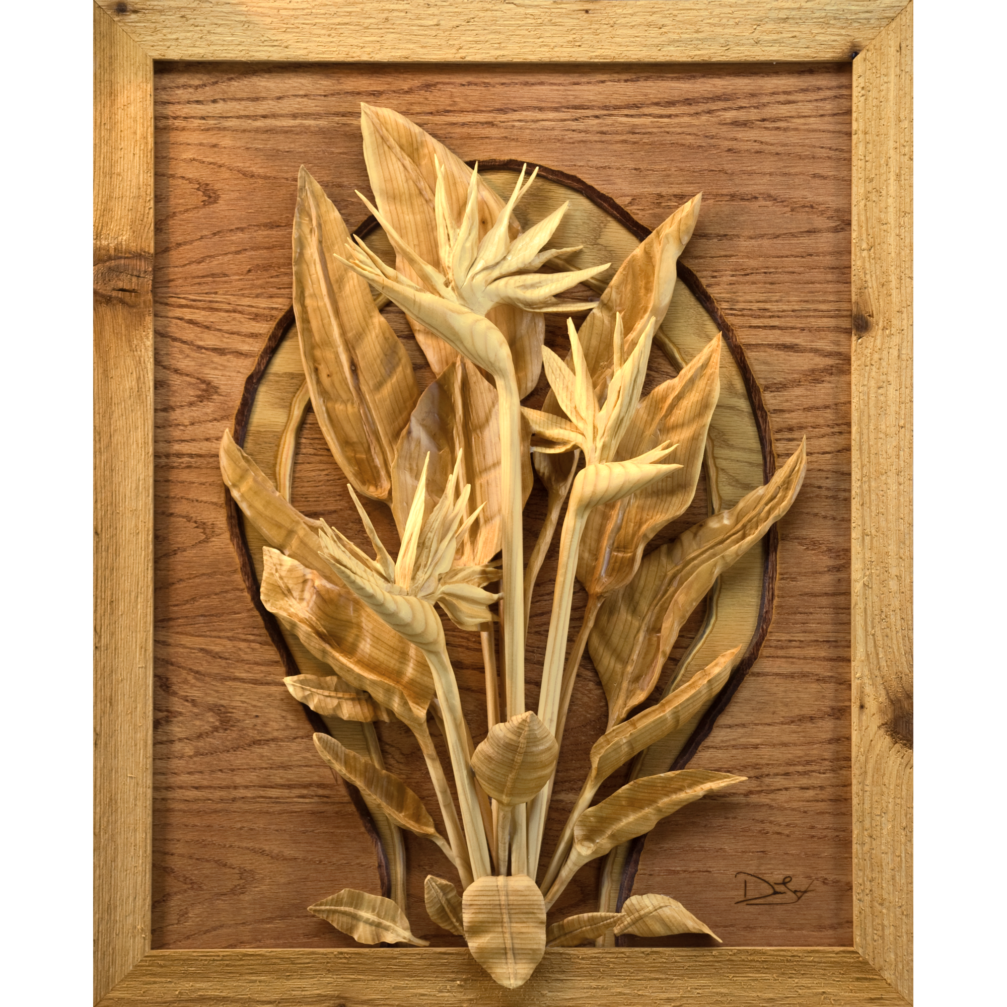 Bird of paradise original intricate wood relief carving