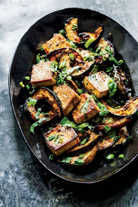 """This roasted tofu-and-squash recipe from Melissa Clark's new cookbook, Dinner: Changing the Game (Clarkson Potter), is a stellar vegan supper that will win over any meat-eater. """"Winter squash gets sweeter and more intense the longer you roast it, especially if you glaze it in some kind of syrupy liquid,"""" says Clark. """"You can use other [...]"""