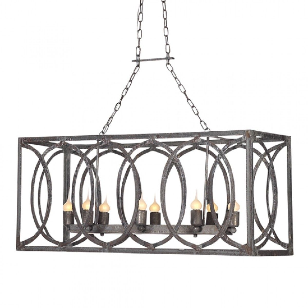 Contemporary Luxury Rectangular Linear Island Dining Room: French Iron Charles Rectangular Small 8 Light Chandelier