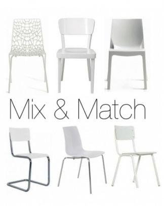 Mix match set design eetkamerstoelen design stoelen for Witte moderne stoelen
