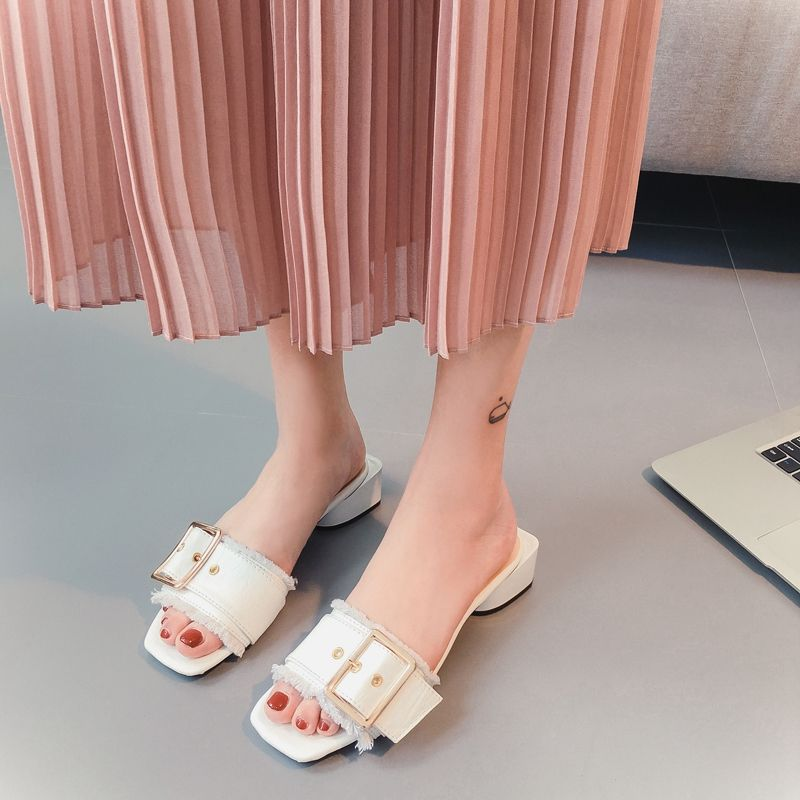 f13ea488a6b Slippers female 2017 all match outdoor thick heel buckle word slippers  moben female. Click visit