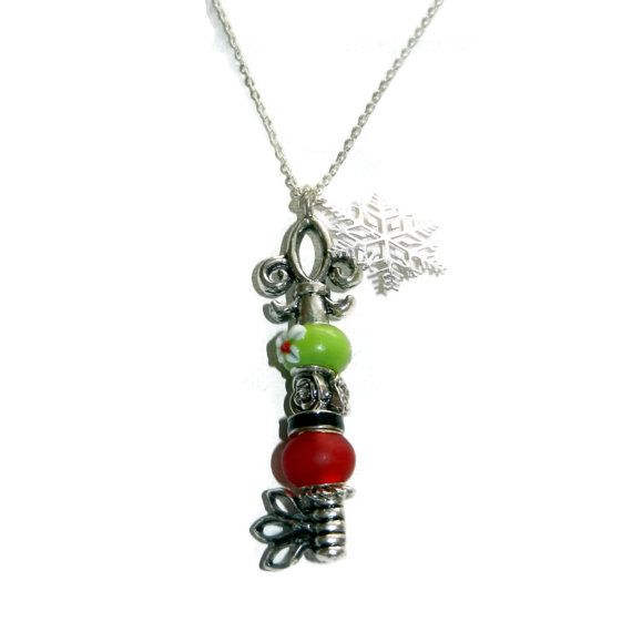 Silver Key Necklace with Red and Green Beads by CloudNineDesignz