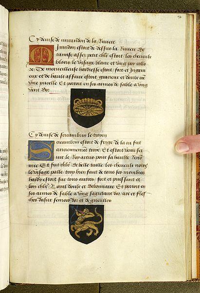 Noms, armes et blasons des chevaliers de la Table Ronde, MS M. 16 fol. 72r - Images from Medieval and Renaissance Manuscripts - The Morgan Library & Museum