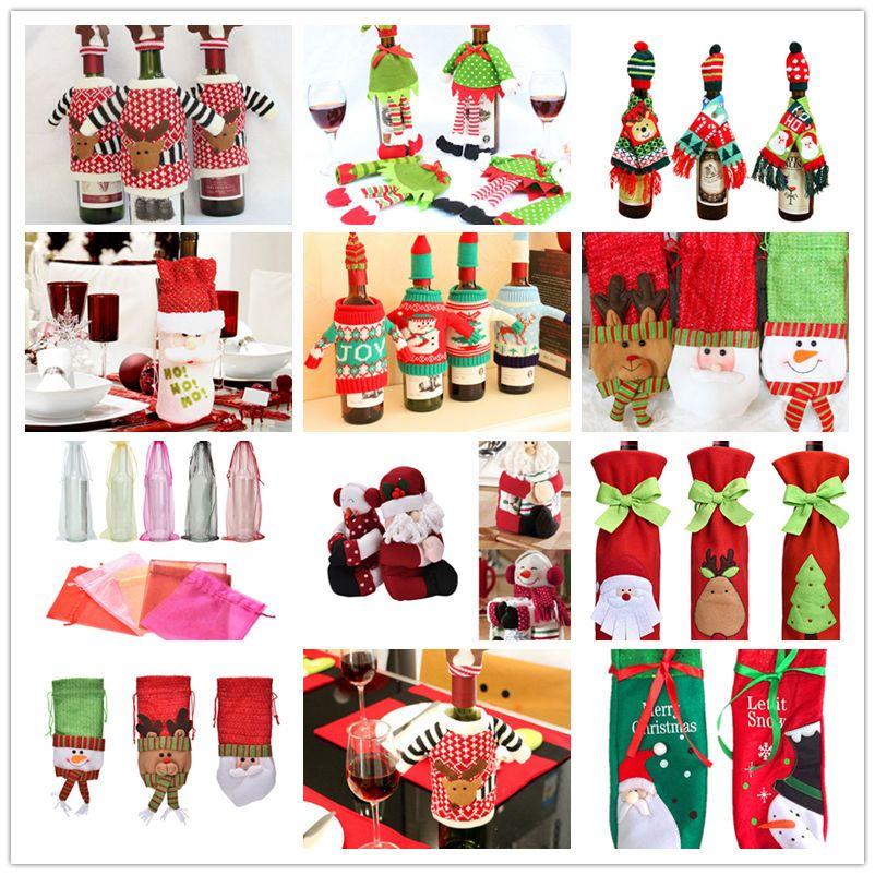 New Merry Christmas Santa Wine Bottle Bag Cover Xmas Dinner Party Table Decor X #Unbranded