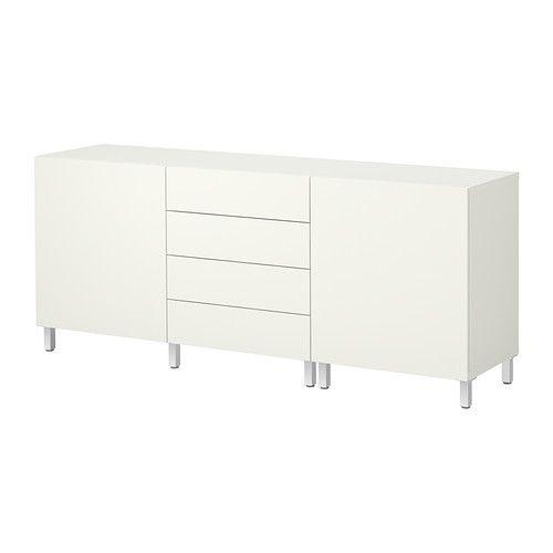 IKEA - BESTÅ, Opbevaringskom døre/skuffer, Vara hvid,