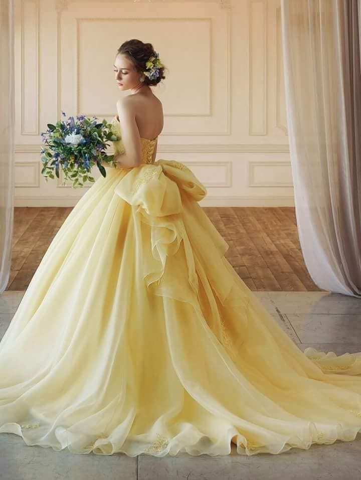 Yellow ball gown dress  Quincenera dresses, Yellow wedding dress