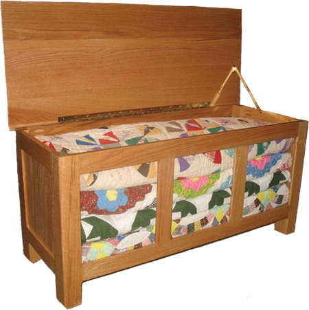 Quilt Box Hope Chest With Glass Panels To See Inside