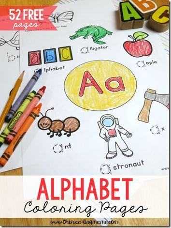 52 FREE Alphabet Coloring Pages   Vocabulary building, Kindergarten ...