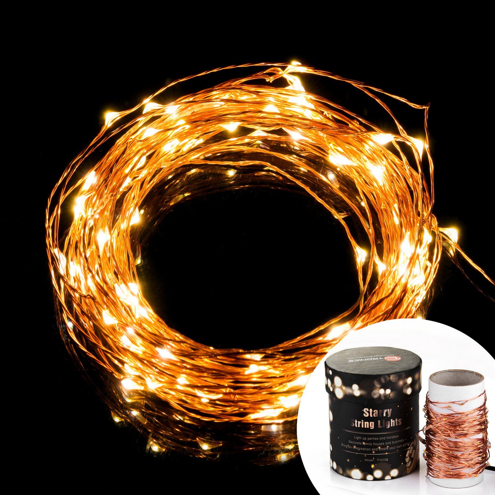prettiest led string lights taotronics copper wire. Black Bedroom Furniture Sets. Home Design Ideas
