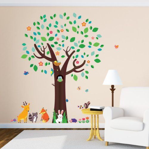 Decowalldm 1312big tree and animal friends wall stickers decowall http