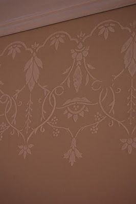 Just Simply Smeared On The Joint Compound Like I Was Frosting A Cake After Carefully Removing The Stencil Stencils Wall Stencil Designs Removable Wallpaper