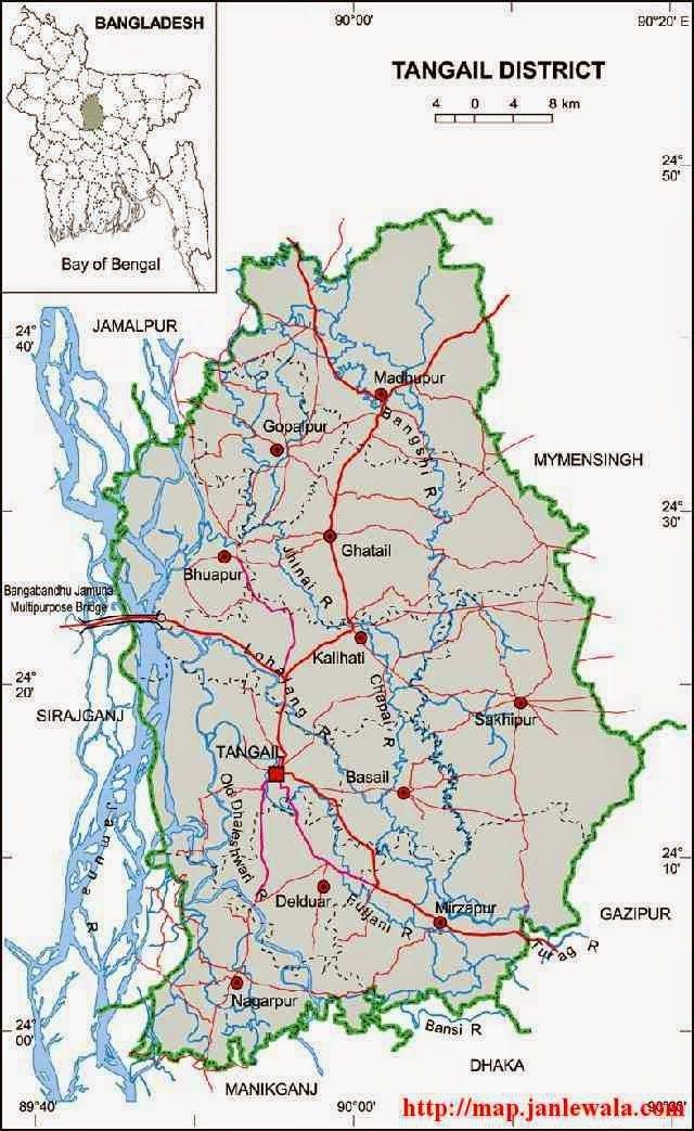 Tangail Zila Map Dhaka Division Bangladesh Maps Of Bangladesh - Map of dhaka division bangladesh
