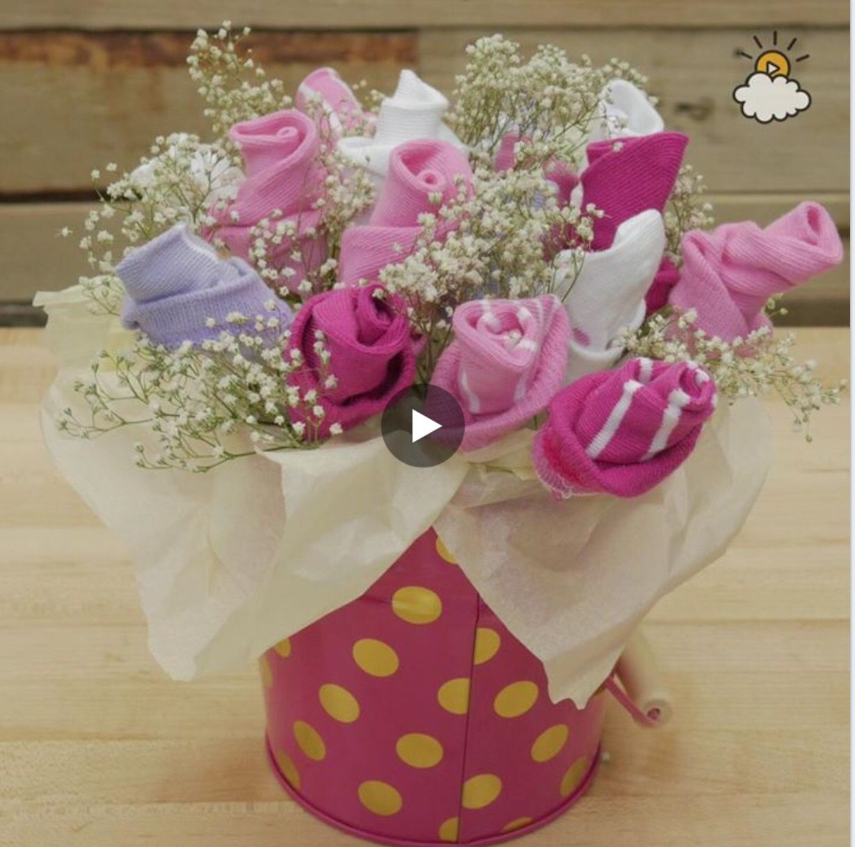 Pretty bouquet of baby socks is just the gift youve been looking baby sock bouquet negle Images