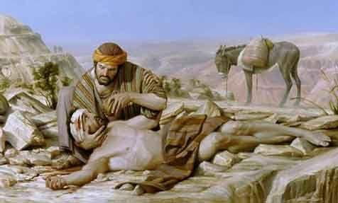 Illustration of the Good Samaritan. Luke 10:29-37