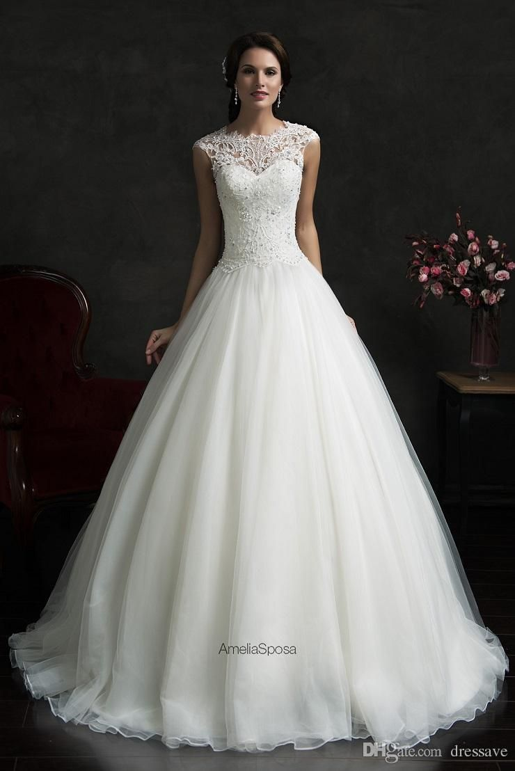 Plus size retro wedding dresses   Vintage Ball Gown Lace Plus Size Wedding Dresses Jewel Hollow
