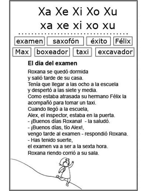 Estudio de la letra x (Ficha Nº 30 Complementaria al Silabario ...
