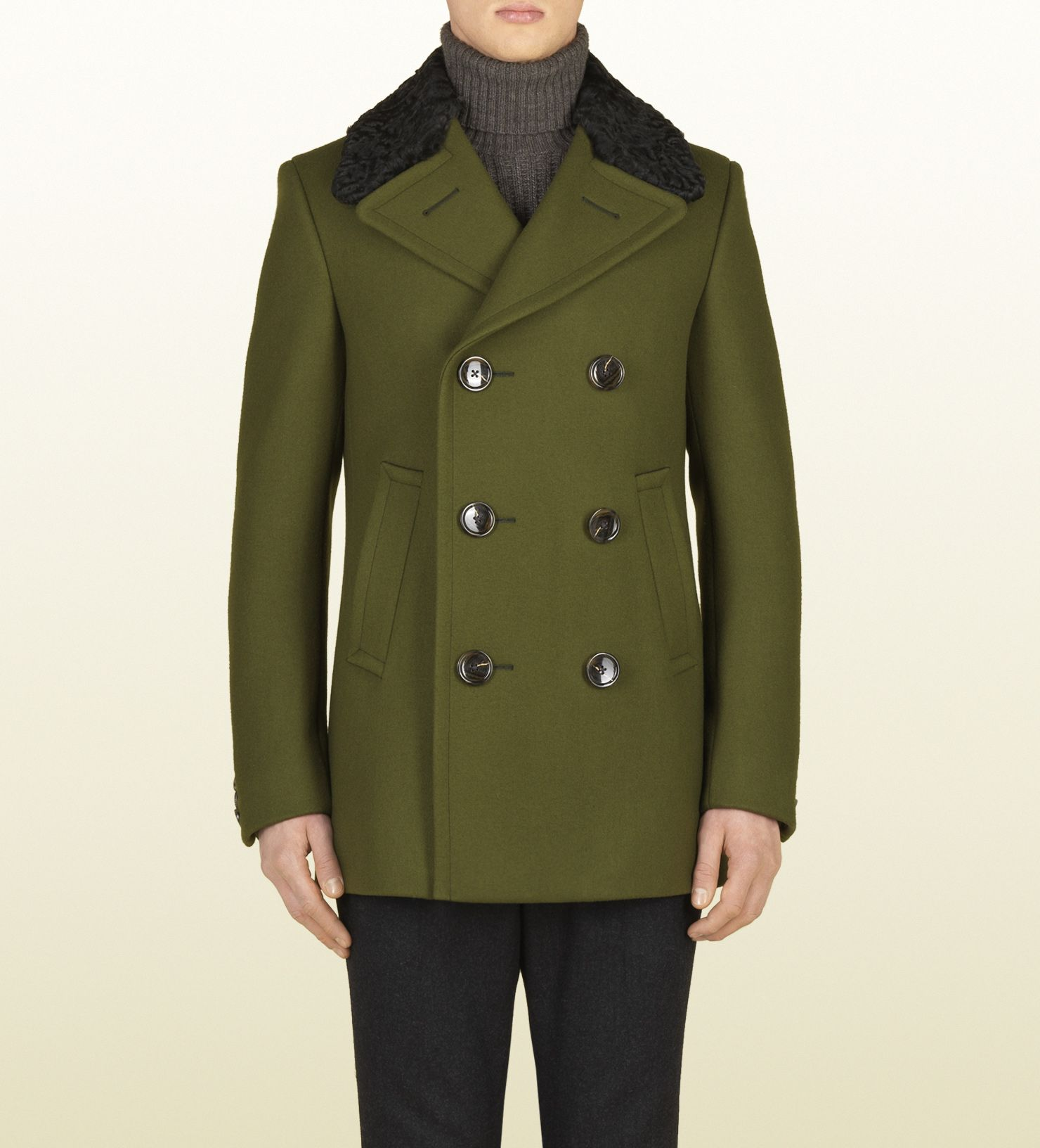 5fb71705807 Gucci Dark Green Wool Peacoat with Fur Collar in Green for Men ...