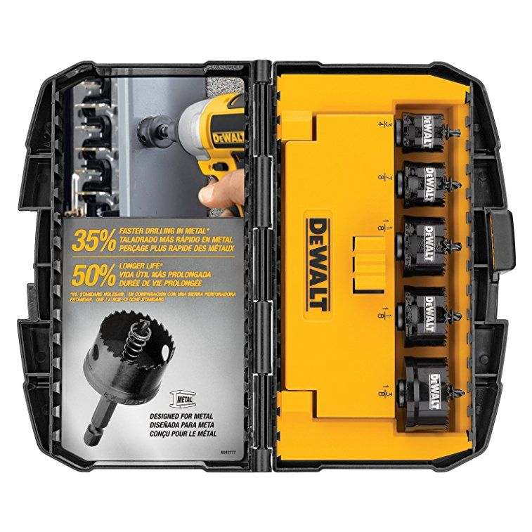 Dewalt D1800ir5 5 Piece Impact Ready Hole Saw Set 3 4 Inch 7 8 Inch 2x 1 1 8 Inch 1 3 8 Inch Dewalt Dewalt Tools Plumbing Tools