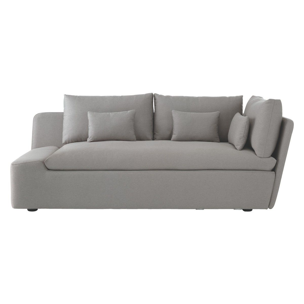 KASHA Grey fabric left-arm lounger