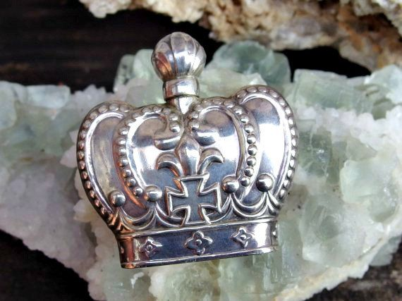 Lovely 950 Silver Crown Shaped Perfume Bottle, Flask or Flacon with Repousse Fleur De Lis, Cross and Beaded Detail, Signed 950 Sterling by postGingerbread on Etsy