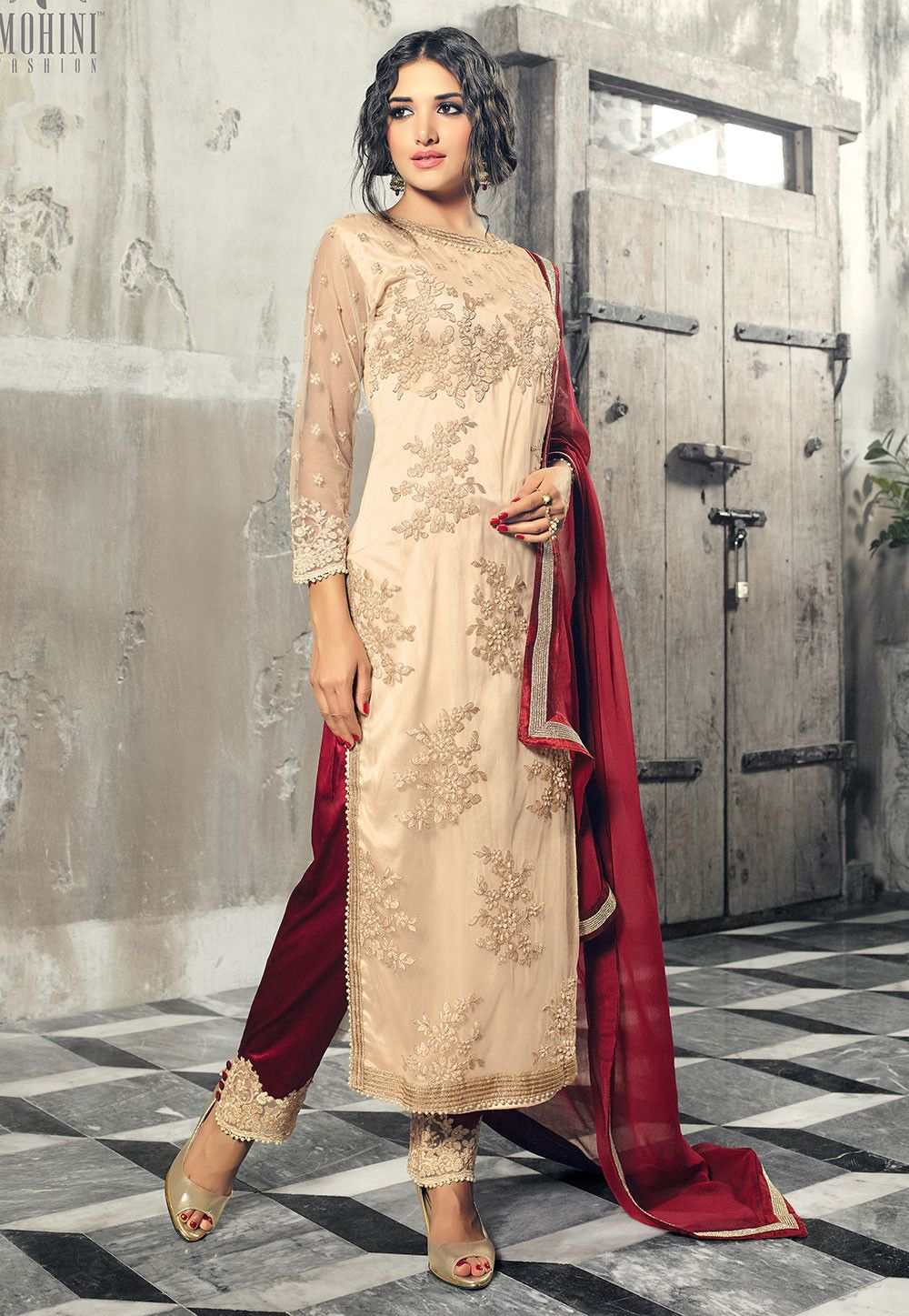 25809df8fdc6 Embroidered Net Pakistani Style Suit in Cream in 2019 | TUNICS ...