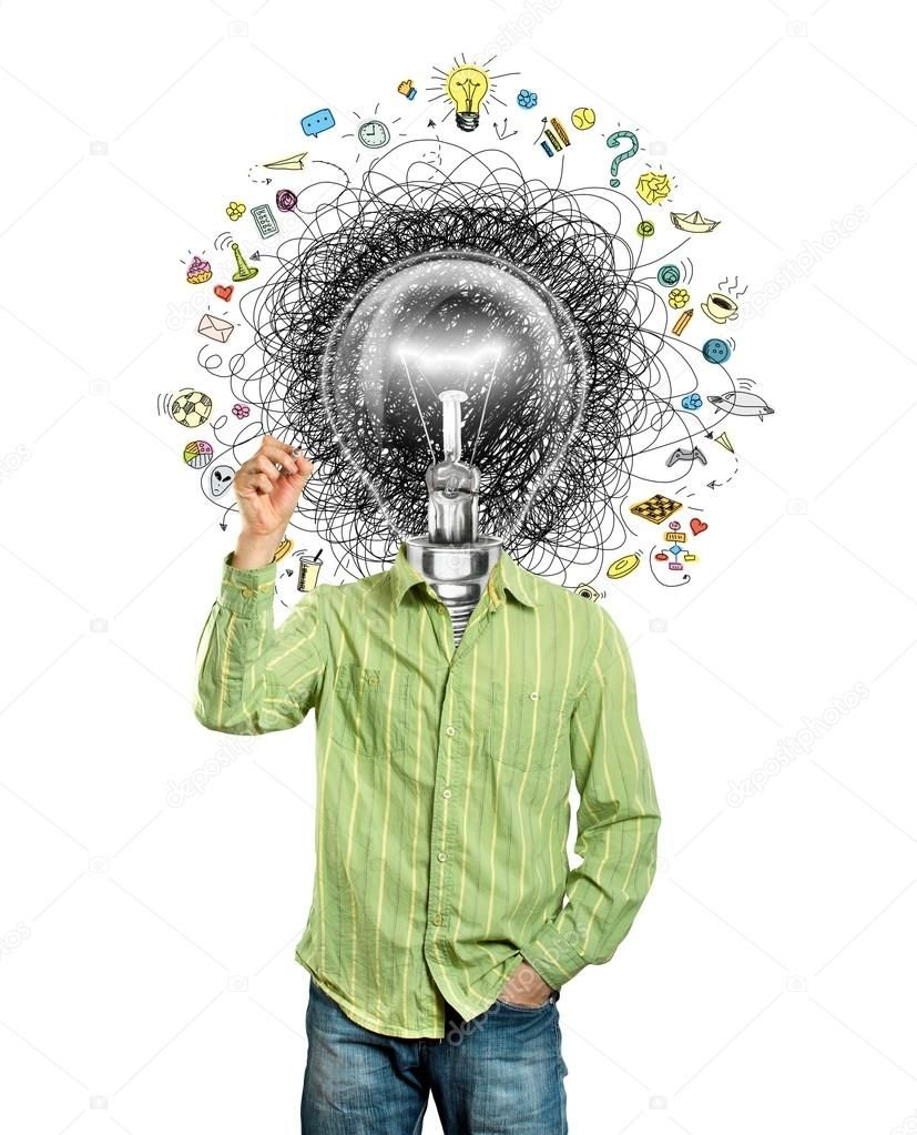 Hombre Cabeza De La Lampara Tiene Una Gran Idea Sobre Fondo Blanco En 2020 Idea Fondo Blanco Bombillas