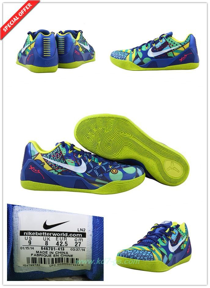 cheap for discount defb1 9008a Mens 646701-413 Nike Kobe 9 EM Blue   Yellow