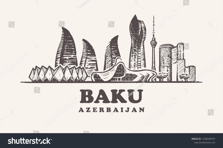 Baku Skyline Azerbaijan Vintage Vector Illustration Hand Drawn Buildings Of Baku On White Background Vintage Vector Azerbai Baku Vector Illustration City Logo
