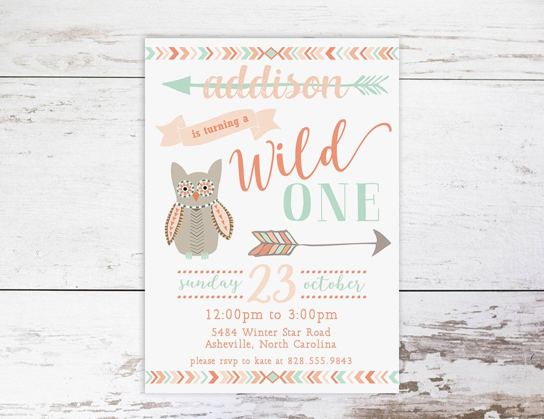 Wild One Birthday Invitation, First Birthday Invitation, Tribal ...