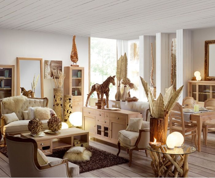 Mesa de comedor extensible en madera de mindi Bromo   LooK: CoLoniaL ...