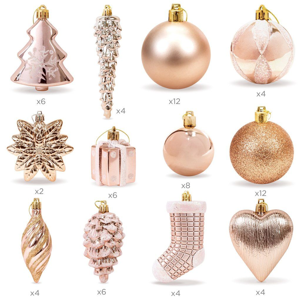 Set Of 72 Handcrafted Assorted Christmas Ornaments Rose Gold Gold Christmas Decorations Gold Christmas Ornaments Rose Gold Christmas Decorations