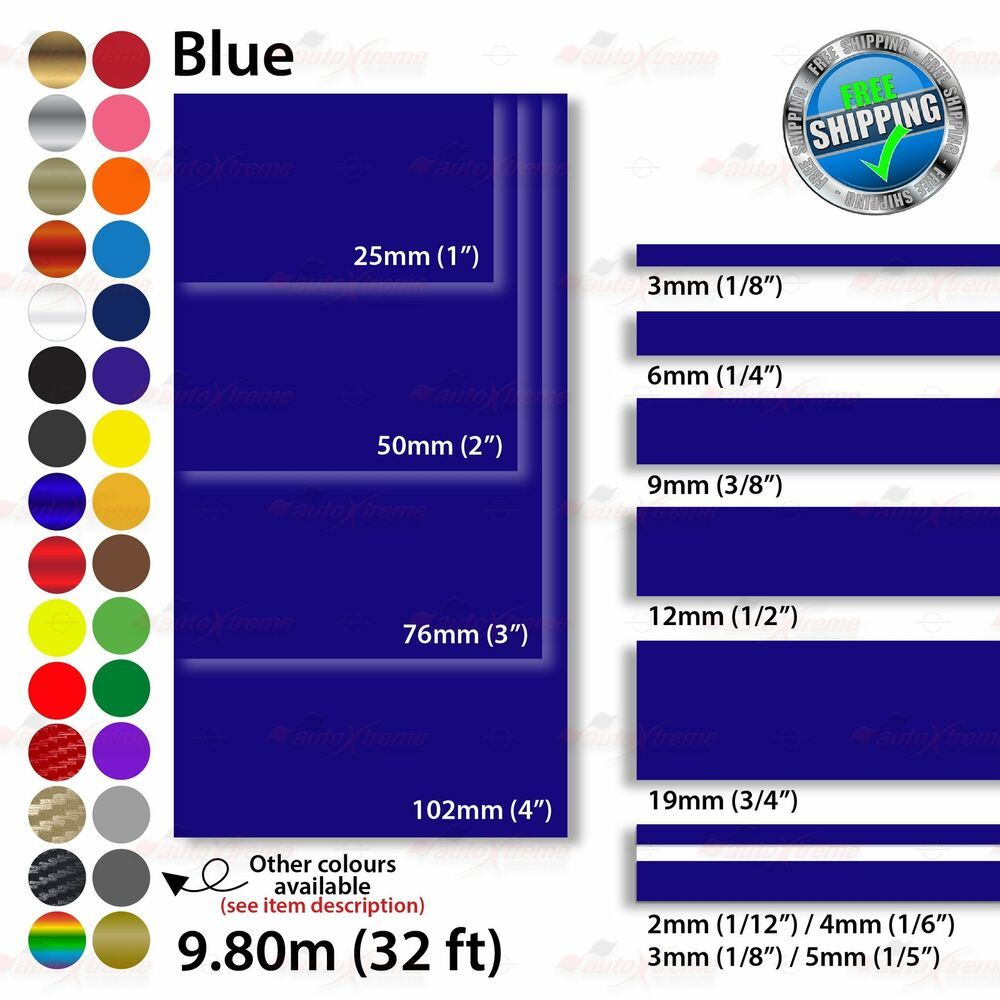 2mm 100mm Pinstriping Pin Stripe Tape Car Styling Line Decal Vinyl Stickers Blue Unbrandedgeneric Vinyl Sticker Diy Styling Pinstriping