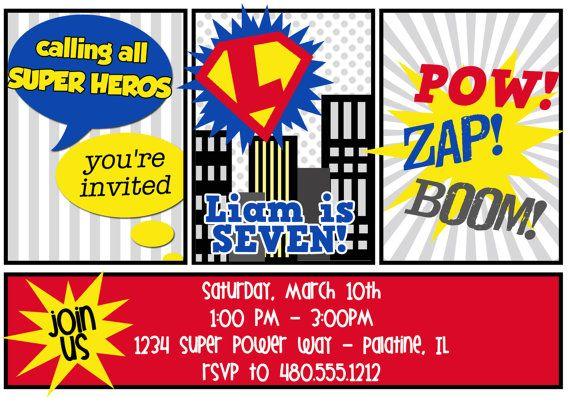 PRINTABLE PARTY INVITATION Super Hero by FreshChickDesigns, $1500 - fresh birthday party invitation designs