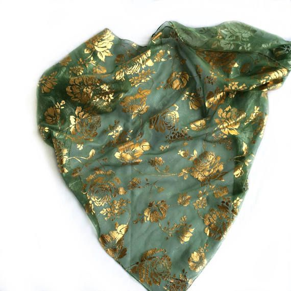 Gold On Green Head Scarf Care Package Gift For Cancer Patient Coworker Under 20 Birthday Gifts Friend Girl