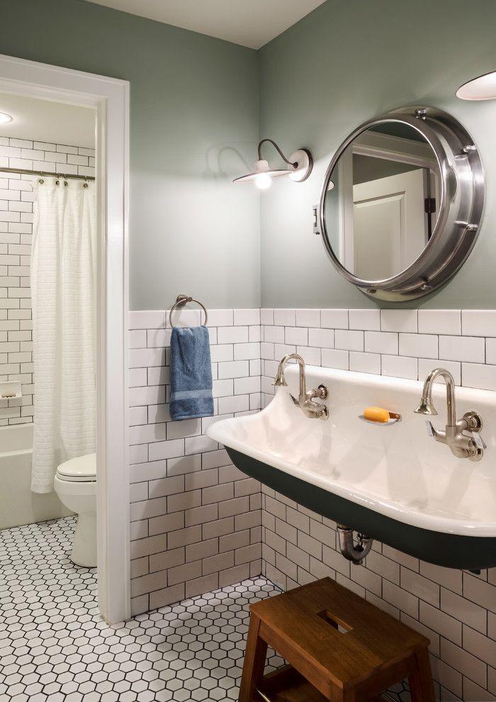 Trough Sinks Bathroomin Bathroom Farmhouse With Modern