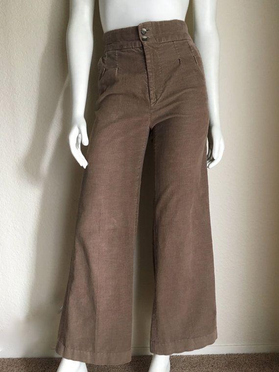 a90cbb92b2 Vintage Women's 70's Corduroy Pants, High Waisted, Brown, Wide Leg ...