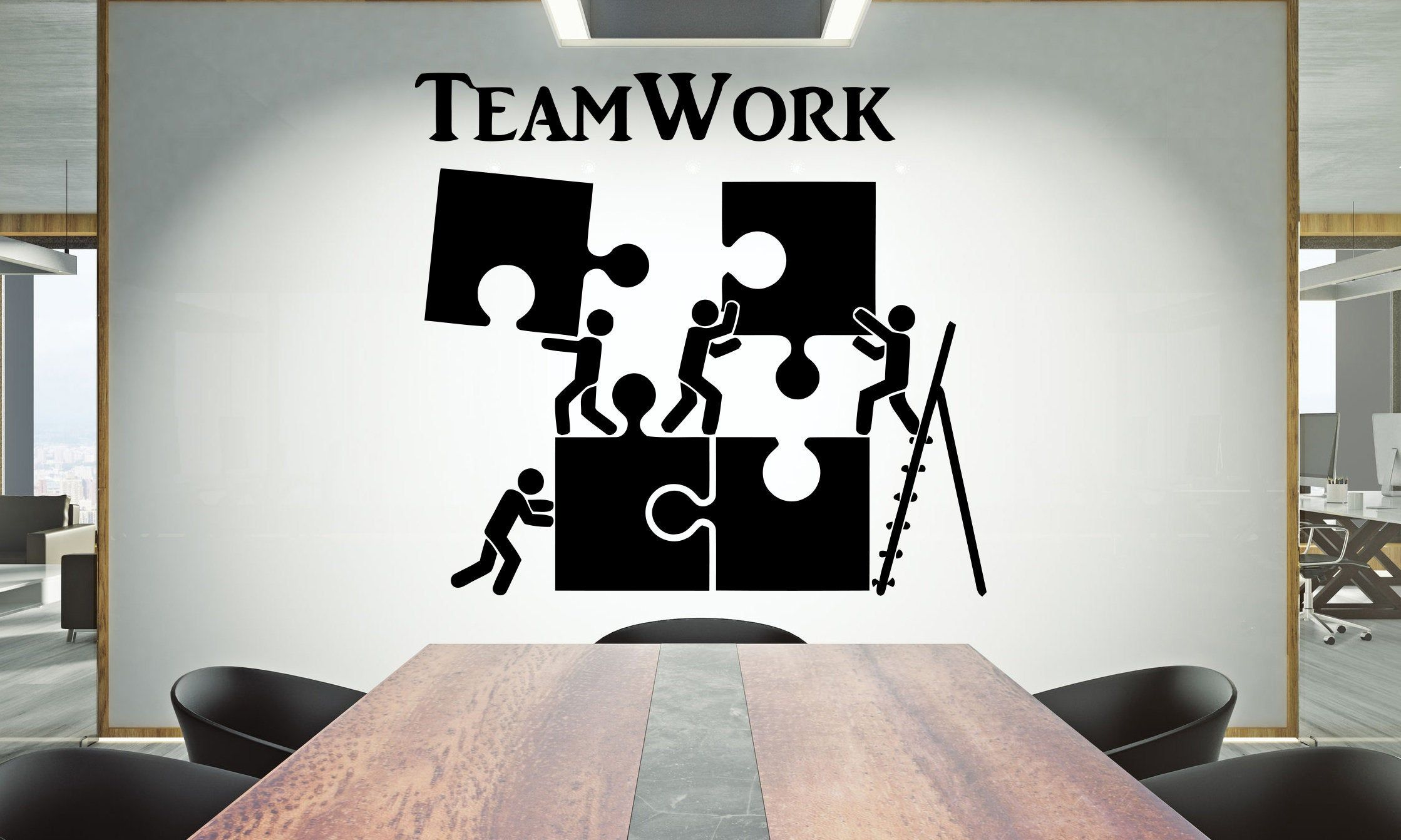 Office Wall Decal Teamwork Quote Wall Sticker Office Decor Inspire